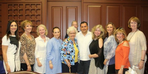 Cabos officials and Sister Cities members, from left, Director of Tourism Karina Corral Raygoza, Pat Kollenda, artist Gianne de Genevraye, Susan Davis, Carol Reynolds, Secretary General Luis Alberto Gonzalez Rivera, Karyn Philippsen, Fabiola Kinder, Betsy Jenkins, and Nancy Beverage; back row, Maura Doyle.