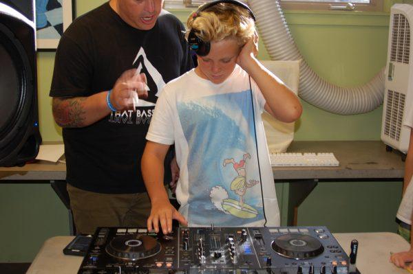 Club member Alex Zucca attends an earlier DJ workshop.
