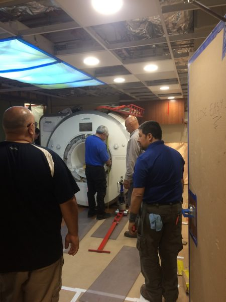 The installation of a new MRI machine is underway at Mission Hospital.