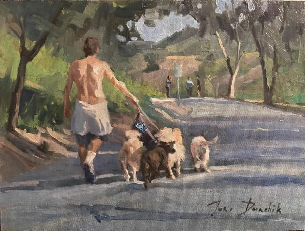 """Dog Walker 2"" by LPAPA artist Toni Danchik is part of the exhibit."