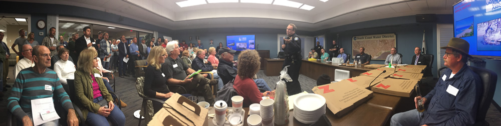Police Capt. Jason Kravetz addresses South Laguna residents frustrated with the impact of tourists in their neighborhoods.