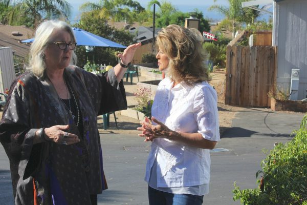 Laguna Terrace Mobile Home Park residents Michele McCormick, left, and Megan Hampton both say their homes are infiltrated by sewer gases since the park owners rebuilt the system in the privately owned mobile home park in 2015.