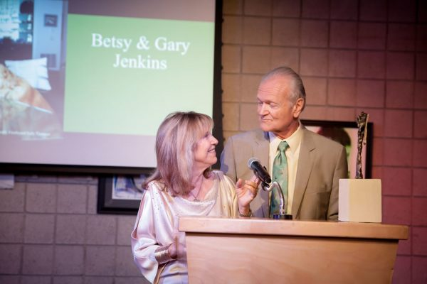 Local resident and patrons Betsy and Gary Jenkins receive recognition for their unstinting financial support for the arts.