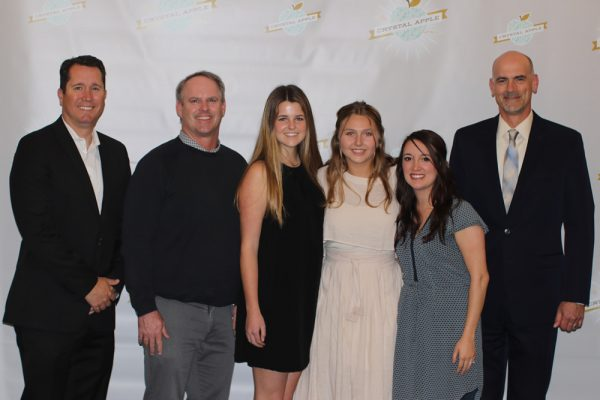 Laguna representatives for the Crystal Apple award, from left, Dr. Jason Viloria, Jonathan Todd, students Kathleen Kimball and Gigi Woods, Samantha Gardner and Chris Herzfeld.