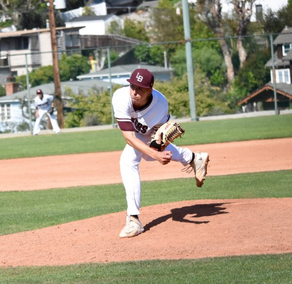 Ashton Goddard pitches three scoreless innings in relief to earn the save for Laguna Beach in the second round CIF playoff game Tuesday, May 23. Photos courtesy LBHS Baseball