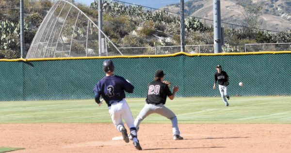 Dustin Angus and Conner Coscino turn a crucial double play late in the game against Trabuco to help the Breakers get out of a jam.