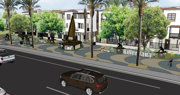 A rendering of the planned sculpture of the surf icon.