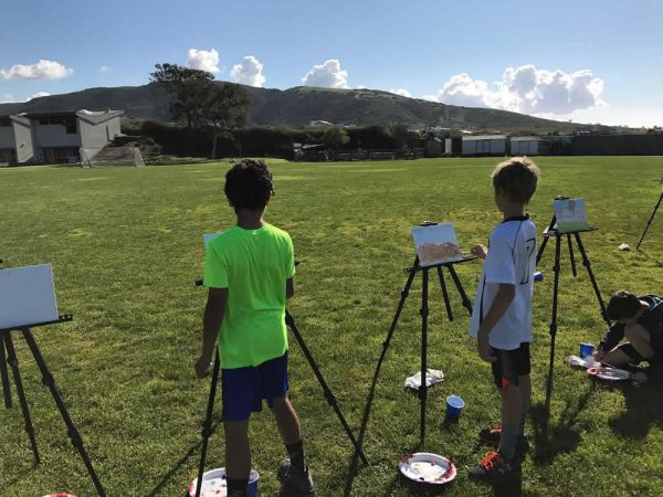 Elementary students step into local history, learning how to paint in plein air.