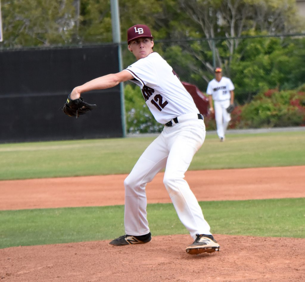 Junior Jack Loechner battled through 2 1/3 innings before being forced to leave the game with a hand injury.