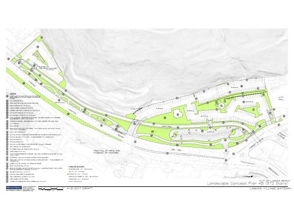 Green indicate new landscaping and a walkway proposed for an asphalt covered parking lot that fronts Laguna Canyon Road at Broadway Street. Photo courtesy of city planning.