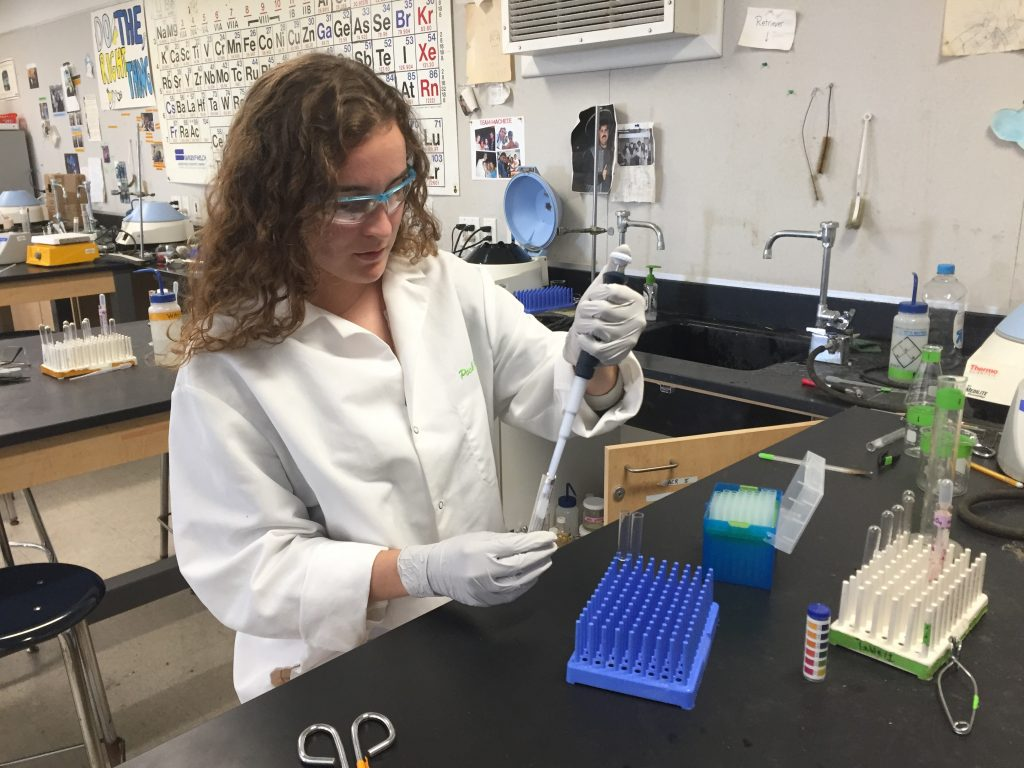 Valedictorian Autumn Geil at work in one of the high school's most challenging courses, Advanced Chemical Research.