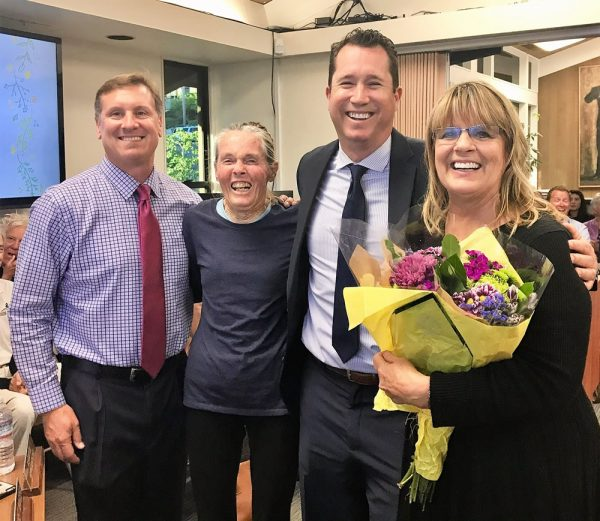 From right, retiring El Morro teacher Cheri David with Supt. Jason Viloria, board President Jan Vickers and Principal Chris Duddy. Photo by Laguna Beach Unified School District.