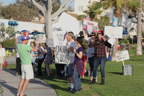 Of the many political demonstrations taking place in Orange County, a recent Main Beach protest targeted Rep. Dana Rohrabacher.