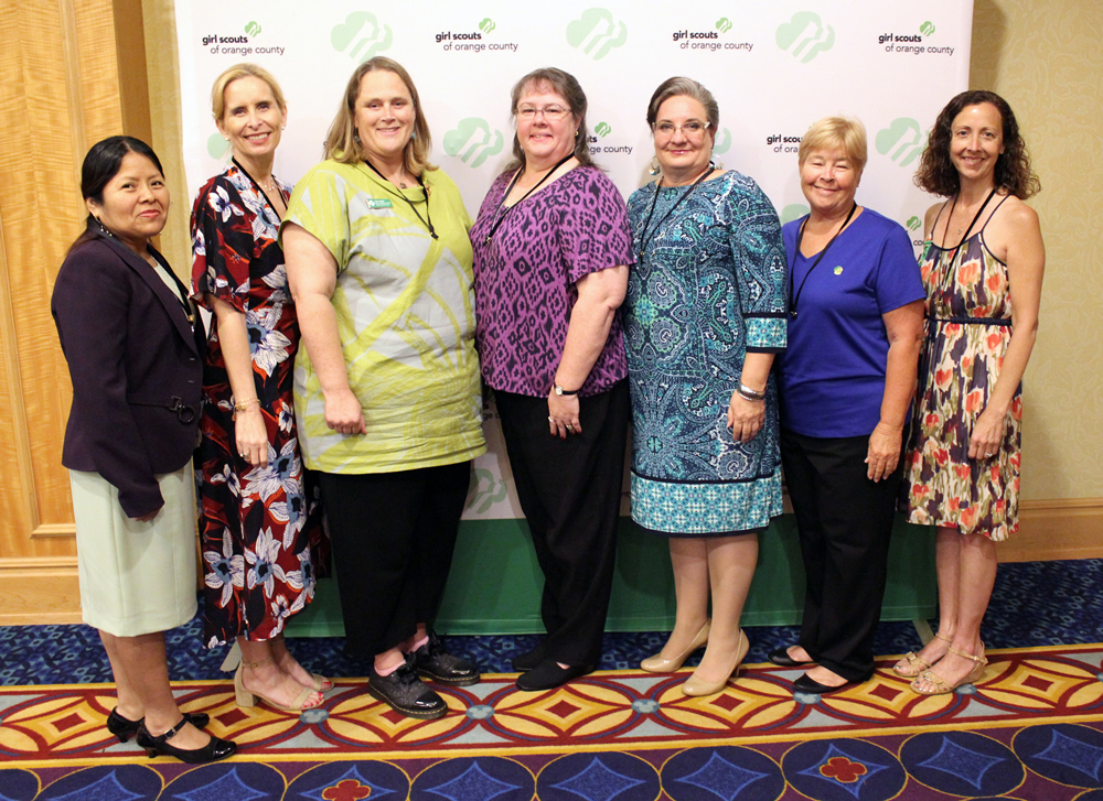 Appreciation Pin recipients, from left, Lorena Montes, Brigitte Lindstrom, Addy Lerner, Lisa Craig, Sue Baldwin-Laird, Chris Evans and Jennifer Baker.