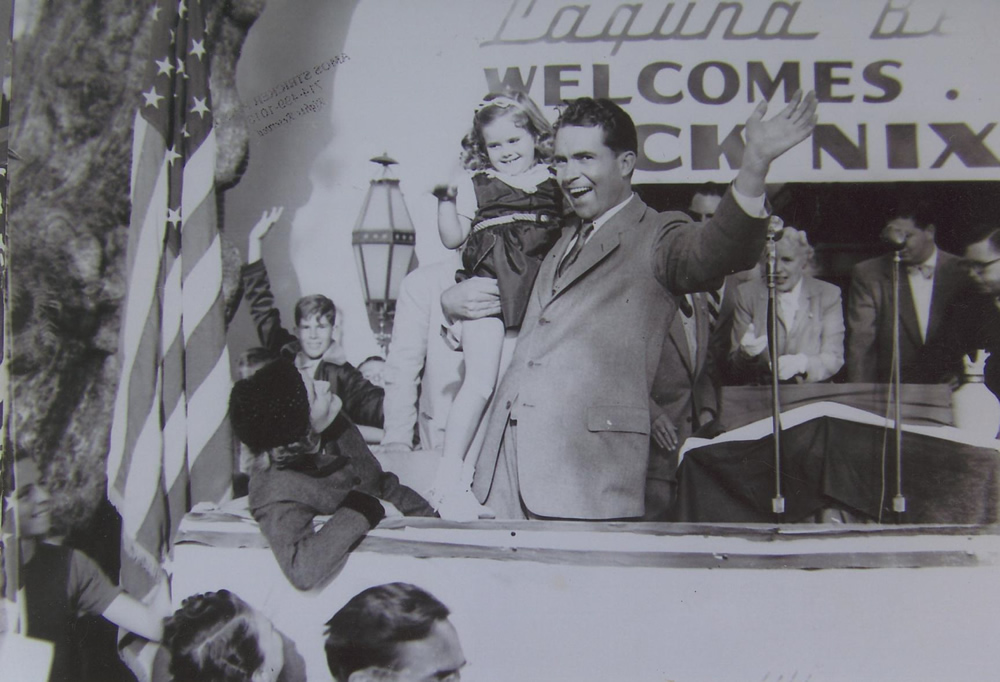 Candidate Richard Nixon campaigns in Laguna Beach.Photos from the Indy archives.