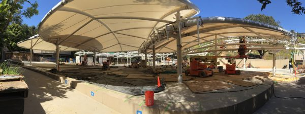 The architecture of the Festival of Arts grounds emerges out of its nearly year-long reconstruction. Photo by  Tom Lamb.