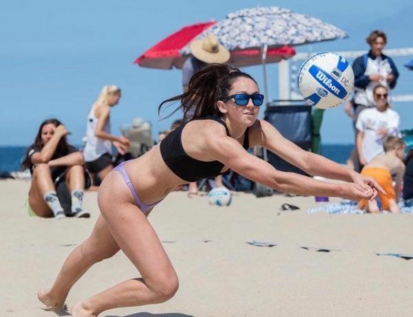 LBHS sand volleyball player Lexi KcKeown and two teammates compete for the Queen of the Beach crown in Hermosa Beach.