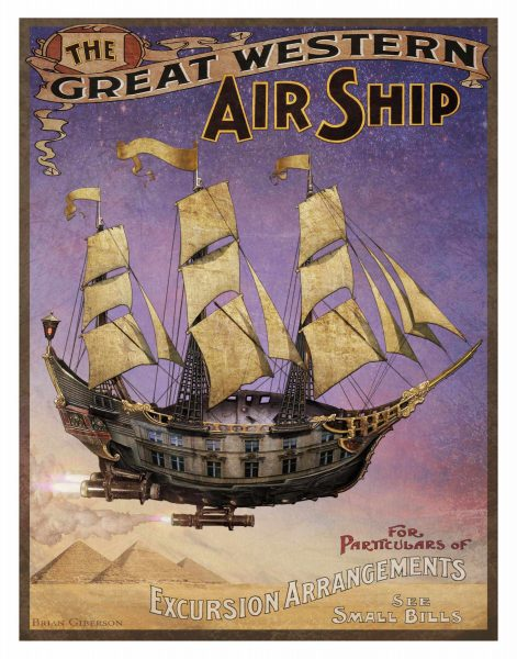 "Brian Giberson's ""Airship Poster"" is part of the exhibit. Photo courtesy of Art-To-Go."
