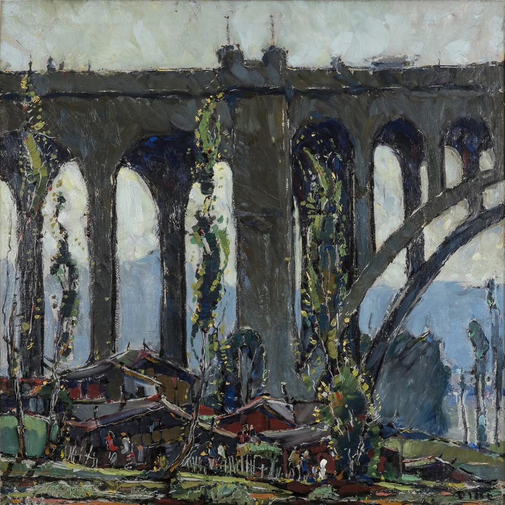 "Phil Dike's ""Pasadena Bridge,"" completed in 1928."
