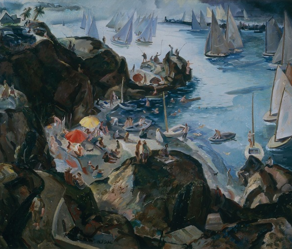 "Dike's ""California Holiday"" depicts a Corona del Mar scene."