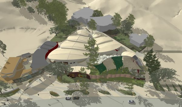 An aerial view of the architect's rendering of the Festival of Arts' grounds.