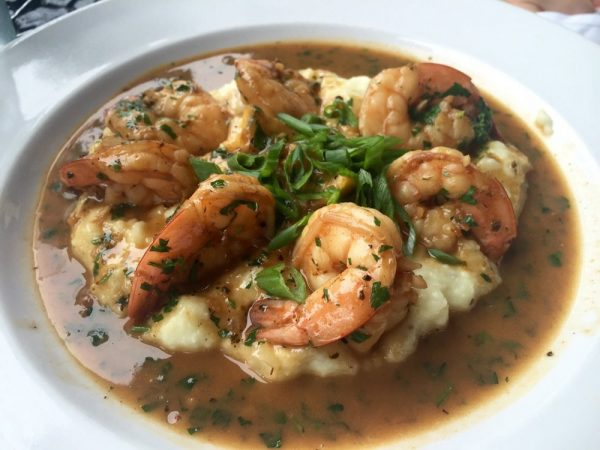 Shrimp over thyme grits, one of Roux's creole style dishes.
