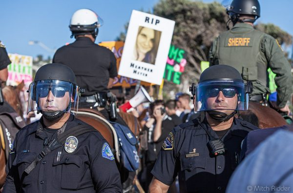 The 250 officers left no corner of the park unwatched, but exercised restraint to allow the exercise of free speech.