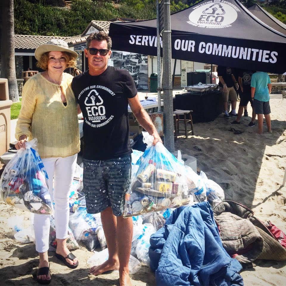 Laguna Beach Mayor Toni Iseman pitches in at the clean up with Eco-Warrior Foundation founder James Pribram.