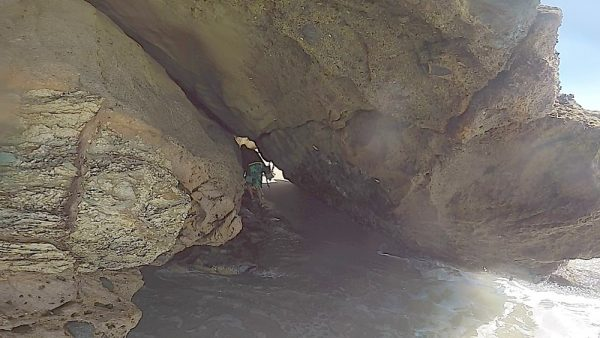 One Aquathon participant takes advantage of an available cave passage.