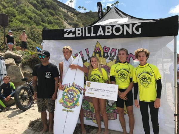 From left, pro surfer Italo Ferreira with the winning LBHS tag team Jake Levine, Kelly Smith, Travis Booth and Joseph Schenk.