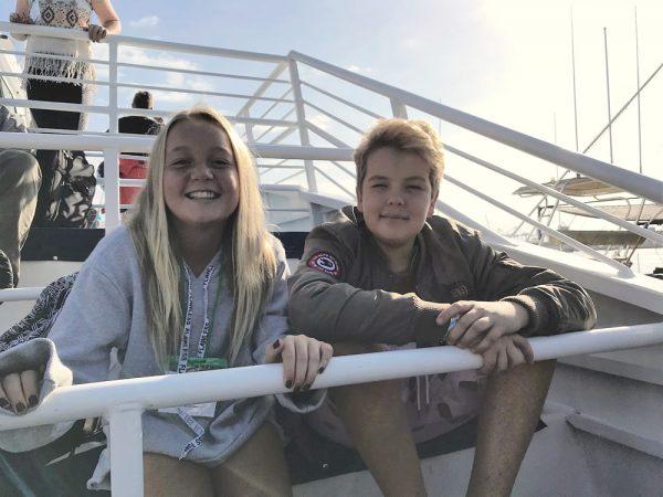 Caroline Bartlett and Alexei Kvitsinski soak up the sun as they travel to Catalina