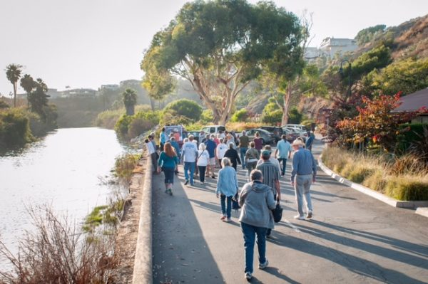 Visitors to the envisioned restoration area along The Ranch property last Thursday see how development has overtaken about 75 percent of the former Aliso Creek estuary. Photo byStephen Smith/Hemingwave.co.
