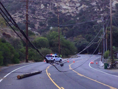 Downed phone lines forced the closure of Laguna Canyon Road overnight Sunday and Monday. Photo courtesy LBPD.