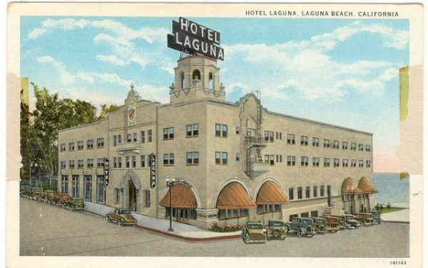 The Hotel Laguna depicted in a historic postcard.