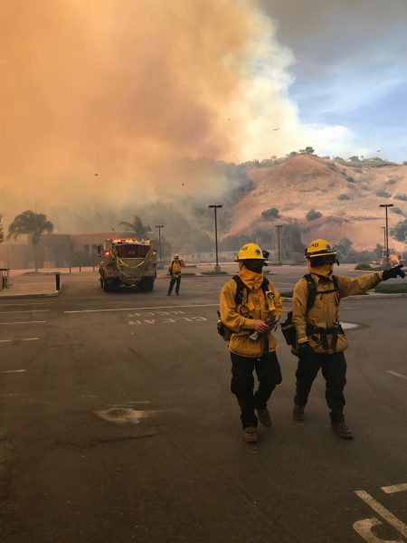 Local firefighters were dispatched Monday to battle the Canyon 2 blaze in Anaheim Hills.