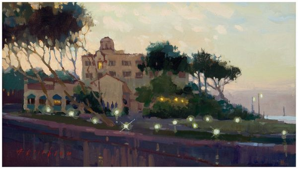 """A legal battle is now underway for control of Hotel Laguna, depicted by artist Aimee Erickson in """"Before Sunrise,"""" at last month's plein air painting contest."""