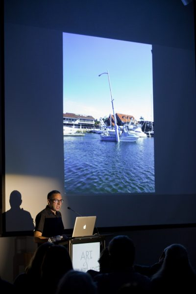 "Mexico City artist Pablo Vargas Lugo discusses ""Seascape,"" its transit to Laguna Beach aborted over unforeseen concerns by regulators. Photo by Eric Stoner."