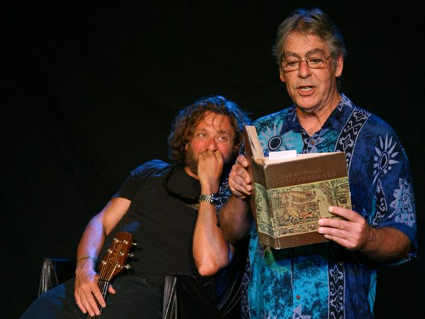 "John Gardiner, right, in a performance with Jason Feddy of ""Shakespeare's Fool."""