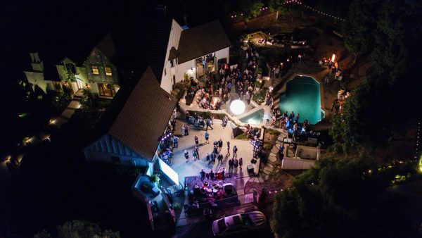 An overhead scene of the Rock 4 Bikes gala organized by mountain bike champ and local resident Hans Rey.