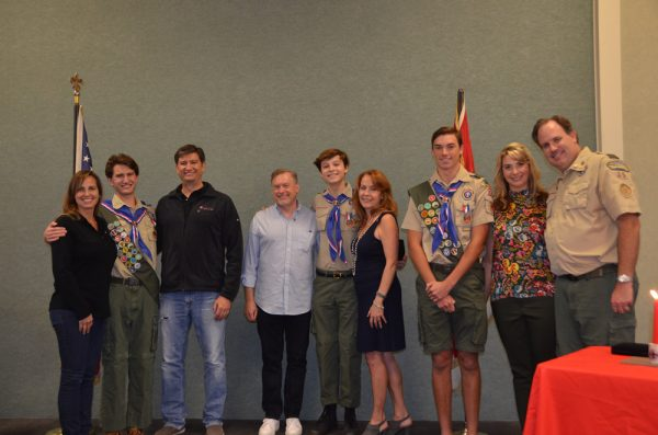From left: Troop 35 Eagle Court of Honor Laura, Andrew, and Erik Keyser; Joseph Downs, uncle to Michael Davidson, and Judy Davidson; and Jonathan, Kathy and Erik Ranabargar, scoutmaster emeritus.