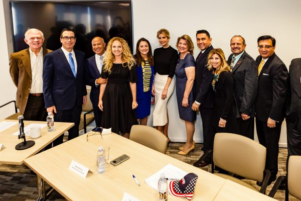 Steve Mnuchin, second from left, Ivanka Trump, center, and Loreen Gilbert, third from right, participate in a roundtable talk on tax reform.