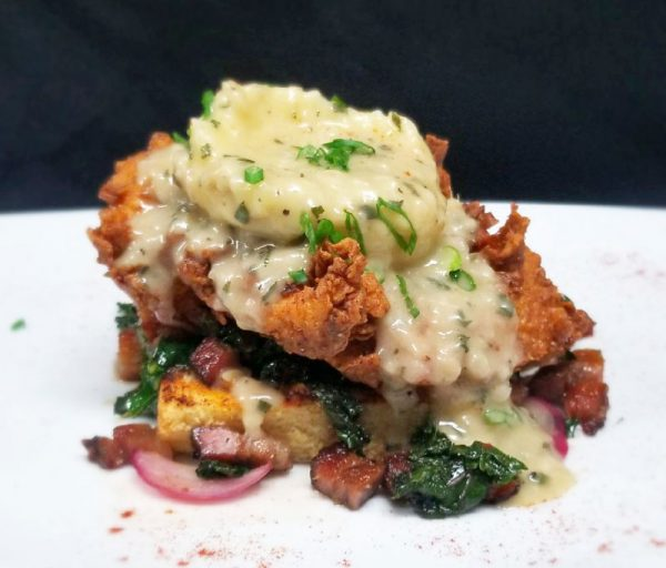 A chicken stack served at Skyloft is featured in the winter menu.