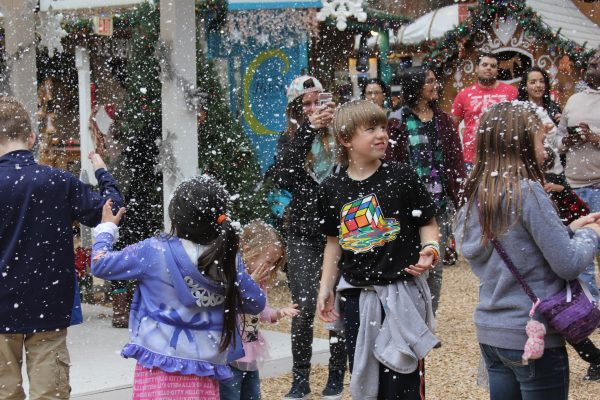 Faux snow brought delight to small-fry during last year's Winter Fantasy.