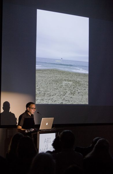 Artist Pablo Vargas Lugo describes the intent of his ocean art installation, which remains grounded, Photo by Eric Stoner