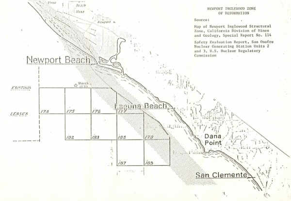 A tract of proposed drilling leases offshore Laguna Beach, included in the city's 1982 appeal to the Reagan administration, then considering lifting a moratorium. Source: Reagan Presidential Library and Foundation
