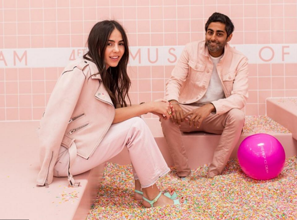 Museum of Ice Cream co-founders Maryellis Bunn and Manish Vora in the sprinkle pool.Photo by Katie Gibbs.