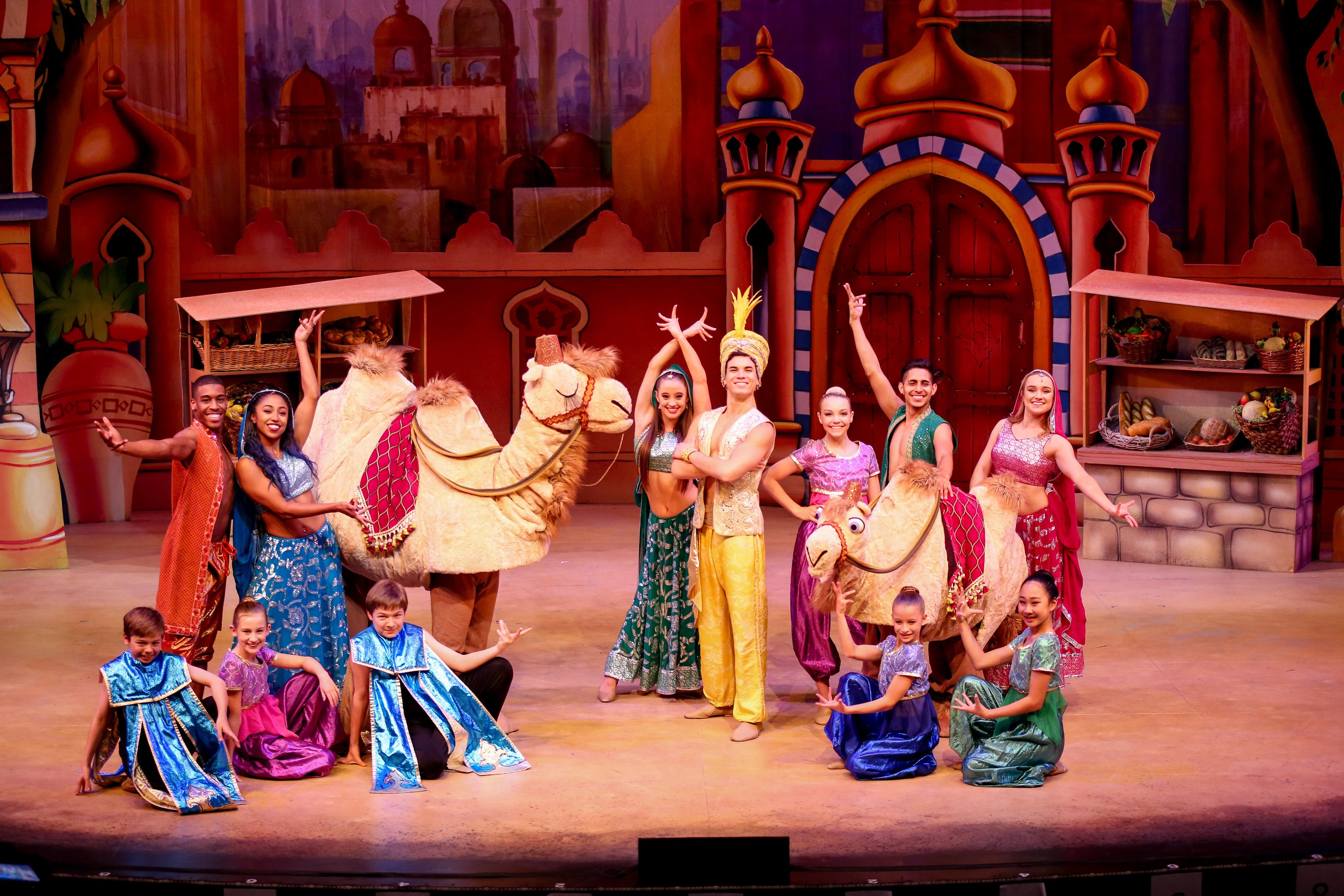 "Barry Pearl, center, stars in ""Aladdin and his Winter Wish,"" a panto-style, audience-participation musical written by Kris Lythgoe. The show is on stage at the Laguna Playhouse through Dec. 31. Tickets: 949 497-2787.  by Cathy Cunningham Photography"