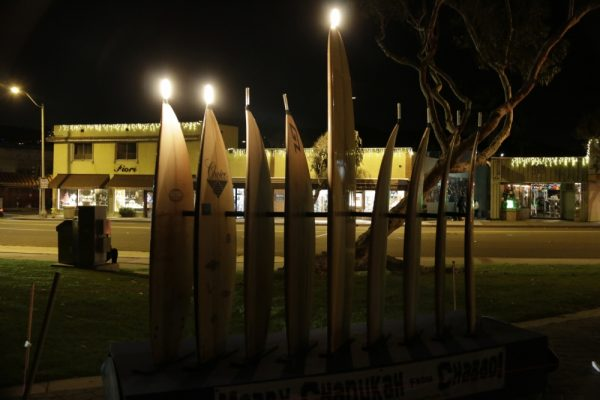 The Surfboard Menorah