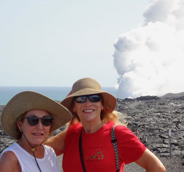 Laguna Beach artist Fitz Maurice, right, and her friend Mindy in Volcanoes National Park in Hawaii.