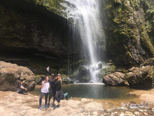 Callista Helms and fellow foreign students visit El Chorro waterfall in Giron, Ecuador.